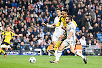 Real Madrid's Raphael Varane and Daniel Carvajal and Borussia Dortmund Pierre-Emerick Aubameyang during the UEFA Champions League match between Real Madrid and Borussia Dortmund at Santiago Bernabeu Stadium in Madrid, Spain. December 07, 2016. (ALTERPHOTOS/BorjaB.Hojas)