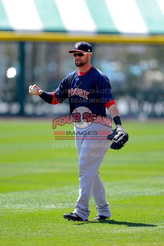 Pawtucket Red Sox outfielder Bryce Brentz #25 warms up before the first game of a doubleheader against the Buffalo Bisons on April 25, 2013 at Coca-Cola Field in Buffalo, New York.  Pawtucket defeated Buffalo 8-3.  (Mike Janes/Four Seam Images)