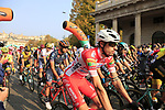 The start of the 112th edition of Il Lombardia 2018, the final monument of the season running 241km from Bergamo to Como, Lombardy, Italy. 13th October 2018.<br /> Picture: Eoin Clarke | Cyclefile<br /> <br /> <br /> All photos usage must carry mandatory copyright credit (© Cyclefile | Eoin Clarke)