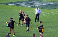 Hurricanes assistant coach Chris Boyd watches his team warm up before the Super Rugby match between the Hurricanes and Sharks at Sky Stadium in Wellington, New Zealand on Saturday, 15 February 2020. Photo: Dave Lintott / lintottphoto.co.nz