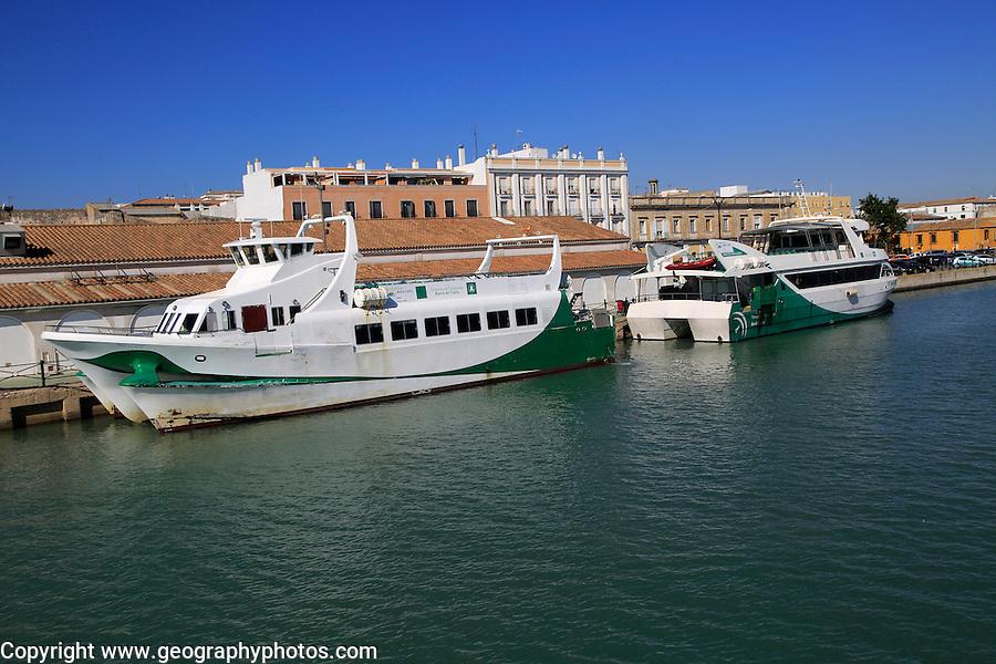 Passenger ferry boats Cataraman Bahia service, quayside at Puerto de Santa de Maria, Cadiz province, Spain