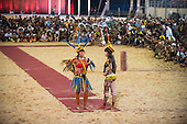 Girls from different ethnic groups demonstrate the culturally different concepts of female beauty in front of the gathered warrior participants at the International Indigenous Games, in the city of Palmas, Tocantins State, Brazil. Photo © Sue Cunningham, pictures@scphotographic.com 24th October 2015