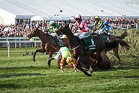 LIVERPOOL - APRIL 14: A blanket of horses, including favorite #6 Total Recall, negotiate around a faller in the Randox Health Grand National Steeplechase at Aintree Racecourse in Liverpool, UK (Photo by Sophie Shore/Eclipse Sportswire/Getty Images)