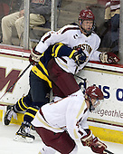 Justin Hussar (Merrimack - 18), Michael Matheson (BC - 5) - The Boston College Eagles defeated the visiting Merrimack College Warriors 4-3 on Friday, November 16, 2012, at Kelley Rink in Conte Forum in Chestnut Hill, Massachusetts.