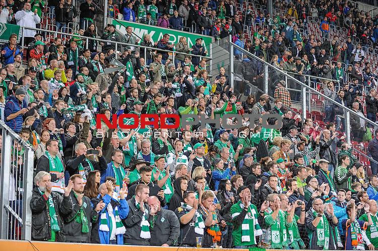 08.11.2015, WWK-Arena, Augsburg, GER, Bundesliga, 12. Spieltag, <br /> FC Augsburg - SV Werder Bremen, im Bild<br /> <br /> Jubel im Werder-Fanblock<br /> <br /> Foto &copy; nordphoto / Schreyer