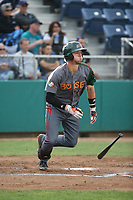 Danny Edgeworthy (17) of the Boise Hawks bats against the Everett AquaSox at Everett Memorial Stadium on July 20, 2017 in Everett, Washington. Everett defeated Boise, 13-11. (Larry Goren/Four Seam Images)