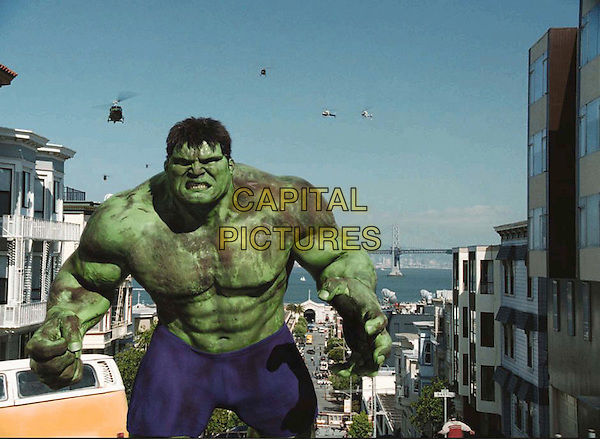 THE HULK.The Hulk is pursued by the military through the streets of San Francisco in The Hulk.  .ERIC BANA.Filmstill - Editorial Use Only.Ref: FB.sales@capitalpictures.com.www.capitalpictures.com.Supplied by Capital Pictures.