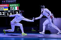 BOGOTA – COLOMBIA – 28 – 05 – 2017: Bogdam Nikishin (Izq.) de Ucrania, combate con Edoardo Munzone (Der.) de Italia, durante las Semifinales Varones Mayores Epee del Gran Prix de Espada Bogota 2017, que se realiza en el Centro de Alto Rendimiento en Altura, del 26 al 28 de mayo del presente año en la ciudad de Bogota.  / Bogdam Nikishin (L) from Ukraine, fights with Edoardo Munzone (R) from Italy, during Semi Finals Senior Men´s Epee of the Grand Prix of Espada Bogota 2017, that takes place in the Center of High Performance in Height, from the 26 to the 28 of May of the present year in The city of Bogota.  / Photo: VizzorImage / Luis Ramirez / Staff.