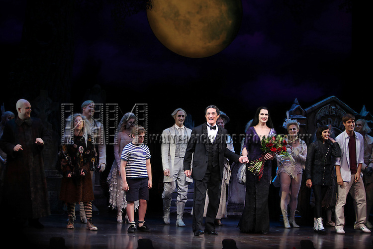 Brooke Shields as Morticia Addams with Brad Oscar, Zachary James, Jackie Hoffman, Roger Rees, Adam Grupper, Jesse Swenson & Heidi Blickenstaff.at the Curtain Call for her debut in 'The Addams Family' at the Lunt-Fontanne Theatre  in New York City.