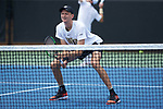 Christian Seraphim of the Wake Forest Demon Deacons in action against the Texas A&M Aggies during the semifinals at the 2018 NCAA Men's Tennis Championship at the Wake Forest Tennis Center on May 21, 2018 in Winston-Salem, North Carolina. The Demon Deacons defeated the Aggies 4-3. (Brian Westerholt/Sports On Film)