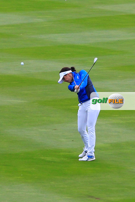 Georgia Hall (EUR) on the 1st fairway during Day 3 Singles at the Solheim Cup 2019, Gleneagles Golf CLub, Auchterarder, Perthshire, Scotland. 15/09/2019.<br /> Picture Thos Caffrey / Golffile.ie<br /> <br /> All photo usage must carry mandatory copyright credit (© Golffile | Thos Caffrey)