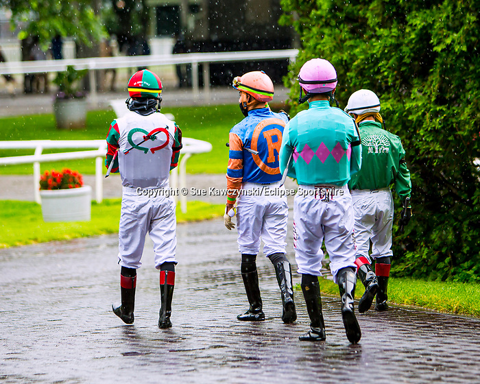 JUNE 03, 2020 : Jockeys entering the paddock for $64,000 Maiden Special Weight, fortwo year ols going 5 furlongs, at Belmont Park, Elmont, NY.  Sue Kawczynski/Eclipse Sportswire/CSM