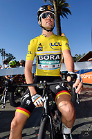 14th March 2020, Paris to Nice cycling tour, final day, stage 7;   SCHACHMANN Maximilian (GER) of BORA - HANSGROHE pictured with the yellow jersey at the start of stage 7 of the 78th edition of the Paris - Nice cycling race, a stage of 166,5km with start in Nice and finish in Valdeblore La Colmiane on March 14, 2020 in Valdeblore La Colmiane, France