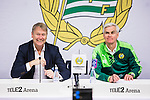 Stockholm 2015-10-25 Fotboll Allsvenskan Hammarby IF - Malm&ouml; FF :  <br /> Malm&ouml;s tr&auml;nare &Aring;ge Hareide och Hammarbys tr&auml;nare Nanne Bergstrand ser glada ut p&aring; presskonferensen efter matchen mellan Hammarby IF och Malm&ouml; FF <br /> (Foto: Kenta J&ouml;nsson) Nyckelord:  Fotboll Allsvenskan Tele2 Arena Hammarby HIF Bajen Malm&ouml; FF MFF portr&auml;tt portrait tr&auml;nare manager coach press presskonferens
