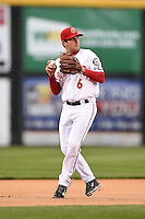 Harrisburg Senators third baseman Sean Nicol (6) warmup throw to first during a game against the New Britain Rock Cats on April 28, 2014 at Metro Bank Park in Harrisburg, Pennsylvania.  Harrisburg defeated New Britain 9-0.  (Mike Janes/Four Seam Images)