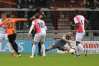 Josh Walker of Barnet shoots but Craig Ross Of Woking makes a good save during Barnet vs Woking, Vanarama National League Football at the Hive Stadium on 12th October 2019