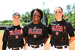 RALEIGH, NC - MAY 07: NC State's three seniors were honored before the game. From left: Molly Martin, Tyler Ross, and Molly Hutchison. The North Carolina State University Wolfpack hosted the University of Louisville Cardinals on May 7, 2017, at Dail Softball Stadium in Raleigh, NC in a Division I College Softball game. Louisville won the game 7-0.