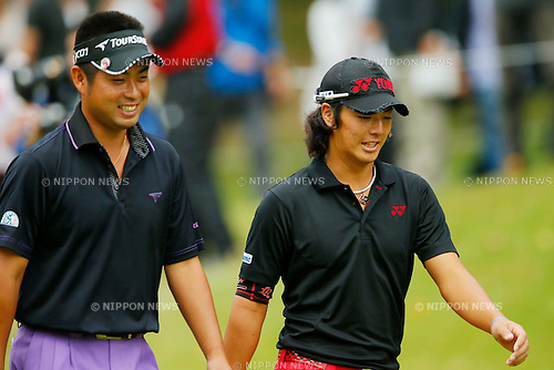 (L-R) Yuta Ikeda, Ryo Ishikawa, OCTOBER 7, 2012 - Golf : Canon Open Golf Tournament final Round at Totsuka Country Club, Kanagawa, Japan. (Photo by AFLO SPORT) [1156]