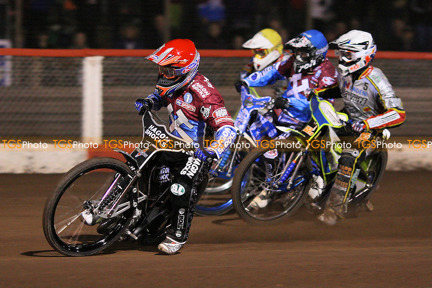 Heat 6: Lee Richardson (red), Kauko Nieminen (blue), Simon Stead (white) and Justin Sedgmen (yellow) - Lakeside Hammers vs Swindon Robins - Elite League Challenge Speedway at Arena Essex Raceway - 25/03/11 - MANDATORY CREDIT: Gavin Ellis/TGSPHOTO - Self billing applies where appropriate - Tel: 0845 094 6026