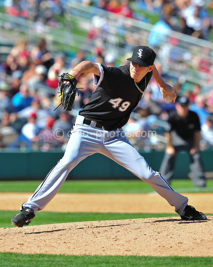 Mar 7, 2011; Tucson, AZ, USA; Chicago White Sox pitcher Chris Sale (49) throws a pitch in the 5th inning of a charity exhibition game against the Arizona Diamondbacks at the Kino Sports Complex.