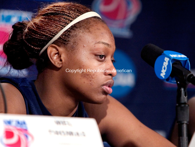 FRESNO, CA. 25 March 2007-032507SV01--Charde Houston of UConn answers questions during a press conference after a practice at the Save Mart Center in Fresno, CA. Sunday. UConn will play LSU in the elite eight round of the NCAA tournament Monday.<br /> Steven Valenti Republican-American