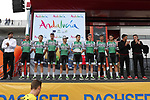 Caja Rural-Seguros RGA at sign on before the start of Stage 12 of La Vuelta 2019 running 171.4km from Circuito de Navarra to Bilbao, Spain. 5th September 2019.<br /> Picture: Luis Angel Gomez/Photogomezsport | Cyclefile<br /> <br /> All photos usage must carry mandatory copyright credit (© Cyclefile | Luis Angel Gomez/Photogomezsport)