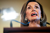 Democratic Speaker of the House from California Nancy Pelosi announces the House will begin a formal impeachment inquiry into US President Donald J. Trump in the US Capitol in Washington, DC, USA, 24 September 2019. Speaker Pelosi faced increased pressure to begin an impeachment inquiry, with more and more democratic lawmakers saying they favor the move after whistleblower accusations against President Trump and his dealings with Ukraine.<br /> Credit: Jim LoScalzo / Pool via CNP