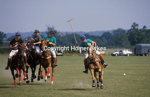 Polo Camp. Summer holidays, pony club week long polo camp. Lingfield Surrey England.