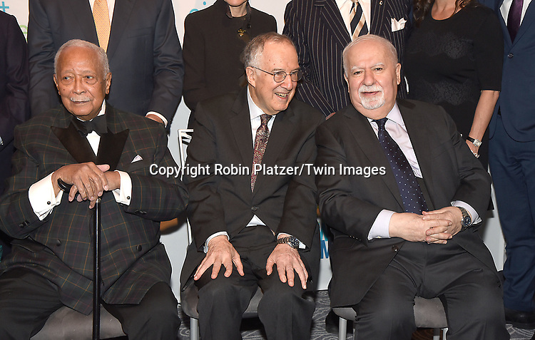 Front row, Mayor David Dinkins, Stephen Solender and Vartan Gregorian attend The New Jewish Home Gala Honoring 8 Over 80 on March 12, 2018 at the Ziegfeld Ballroom in New York, New York, USA.<br /> <br /> photo by Robin Platzer/Twin Images<br />  <br /> phone number 212-935-0770