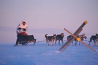 P Gebhardt in Wind Storm Darby Mts 2000 Iditarod AK<br /> Near Golovin