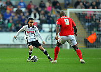 ATTENTION SPORTS PICTURE DESK<br /> Pictured: Leon Britton of Swansea City in action <br /> Re: Coca Cola Championship, Swansea City Football Club v Nottingham Forest at the Liberty Stadium, Swansea, south Wales. Saturday 12 December 2009