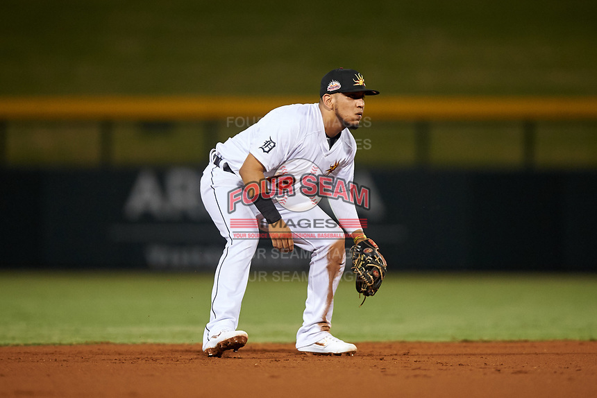 Mesa Solar Sox shortstop Isaac Paredes (18), of the Detroit Tigers organization, during an Arizona Fall League game against the Scottsdale Scorpions on September 18, 2019 at Sloan Park in Mesa, Arizona. Scottsdale defeated Mesa 5-4. (Zachary Lucy/Four Seam Images)