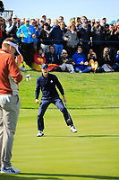 Justin Thomas (Team USA) on the 17th during the Saturday Fourballs at the Ryder Cup, Le Golf National, Paris, France. 29/09/2018.<br /> Picture Phil Inglis / Golffile.ie<br /> <br /> All photo usage must carry mandatory copyright credit (&copy; Golffile | Phil Inglis)