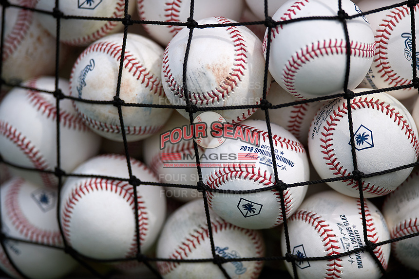 General view of practice baseballs during the Pittsburgh Pirates first Spring Training practice on February 18, 2019 at Pirate City in Bradenton, Florida.  (Mike Janes/Four Seam Images)