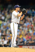 Milwaukee Brewers pitcher Brandon Kintzler #53 during a game against the Los Angeles Dodgers at Miller Park on May 22, 2013 in Milwaukee, Wisconsin.  Los Angeles defeated Milwaukee 9-2.  (Mike Janes/Four Seam Images)