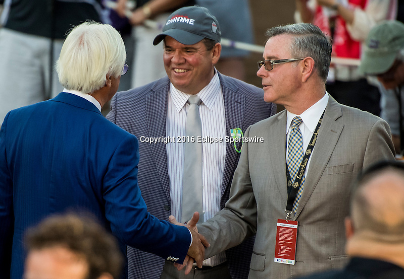 ARCADIA, CA - NOVEMBER 05: Arrogate trainer Bob Baffert shakes hands with connections of California Chrome after he won the Breeders' Cup Classic  during day two of the 2016 Breeders' Cup World Championships at Santa Anita Park on November 5, 2016 in Arcadia, California. (Photo by Douglas DeFelice/Eclipse Sportswire/Breeders Cup)