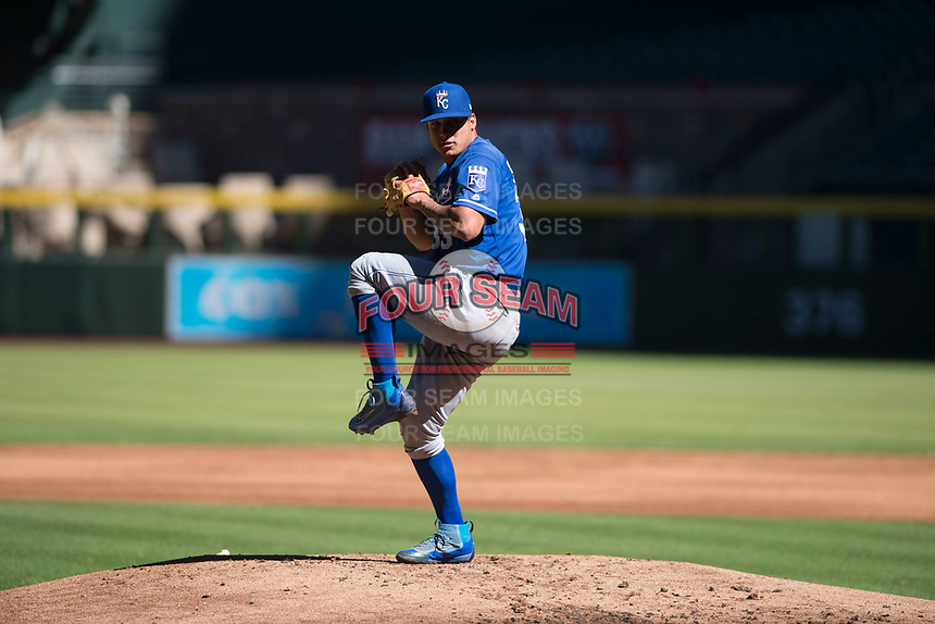 Kansas City Royals relief pitcher Andres Sotillet (33) delivers a pitch to the plate during an Instructional League game against the Arizona Diamondbacks at Chase Field on October 14, 2017 in Scottsdale, Arizona. (Zachary Lucy/Four Seam Images)