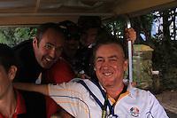 Miguel Angel Jimenez being buggied back after Graeme McDowell sinks the winning putt to win the ryder cup 14.5 to 13.5 on the 17th at the 2010 Ryder Cup at the Celtic Manor twenty ten course, Newport Wales, 4/10/2010.Picture Fran Caffrey/www.golffile.ie.