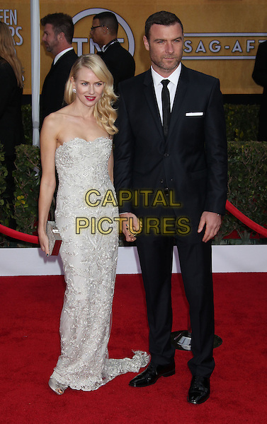 Naomi Watts (wearing Marchesa) & Liev Schreiber.Arrivals at the 19th Annual Screen Actors Guild Awards at the Shrine Auditorium in Los Angeles, California, USA..27th January 2013.SAG SAGs full length grey gray lace strapless dress black suit holding hands couple    .CAP/ADM/RE.©Russ Elliot/AdMedia/Capital Pictures.
