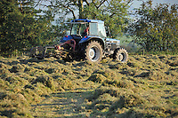 Tedding grass ready for baling silage with a New Holland 6640 tractor, Whitewell, Lancashire....Copyright..John Eveson, Dinkling Green Farm, Whitewell, Clitheroe, Lancashire. BB7 3BN.01995 61280. 07973 482705.j.r.eveson@btinternet.com.www.johneveson.com