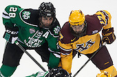 Stephane Pattyn (North Dakota - 28), Seth Ambroz (MN - 17) - The University of Minnesota Golden Gophers defeated the University of North Dakota 2-1 on Thursday, April 10, 2014, at the Wells Fargo Center in Philadelphia to advance to the Frozen Four final.