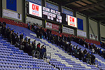 Wigan Athletic 1 Shrewsbury Town 0, 21/11/2015. DW Stadium, League One. The DW Stadium. Wigan Athletic earned a narrow 1-0 at home to Shrewsbury Town. Wigan competed in the Premier League from 2005 to 2013. They won the 2013 FA Cup. The club also embarked on its first European campaign during the 2013–14 UEFA Europa League. The scoreboard gives the final score as fans leave the DW Stadium.  Photo by Paul Thompson