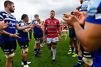 Ed Slater of Gloucester Rugby leads his team off the field after the match. Gallagher Premiership match, between Bath Rugby and Gloucester Rugby on September 8, 2018 at the Recreation Ground in Bath, England. Photo by: Patrick Khachfe / Onside Images