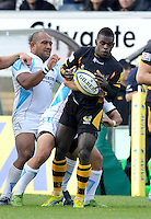 High Wycombe, England. Christian Wade of London Wasps in action during the Aviva Premiership match between London Wasps and Worcester Warriors at Adam Park on October 7, 2012 in High Wycombe, England.