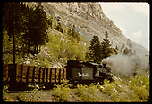 D&amp;RGW #480 K-36 with gondolas on Monarch switchback.<br /> D&amp;RGW  Monarch, CO