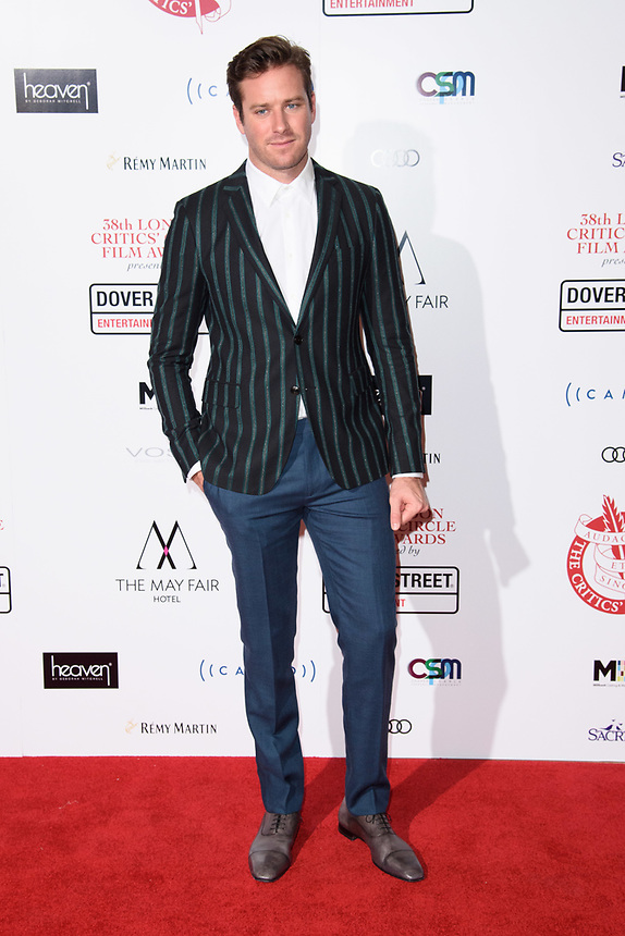 Armie Hammer<br /> arriving for the Critic's Circle Film Awards 2018, Mayfair Hotel, London<br /> <br /> <br /> ©Ash Knotek  D3374  28/01/2018