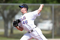 New York Mets minor league pitcher Adam Kolarek #46 delivers a pitch during a spring training game vs the St. Louis Cardinals at the Roger Dean Complex in Jupiter, Florida;  March 24, 2011.  Photo By Mike Janes/Four Seam Images
