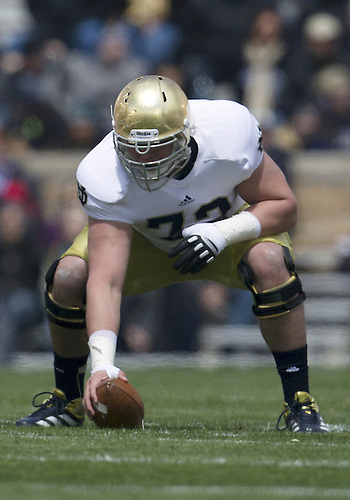 April 20, 2013: Notre Dame Fighting Irish center Nick Martin (72) during the Notre Dame Blue-Gold Spring game at Notre Dame Stadium in South Bend, Indiana.  The Defense topped the Offense by a score of 54-43.