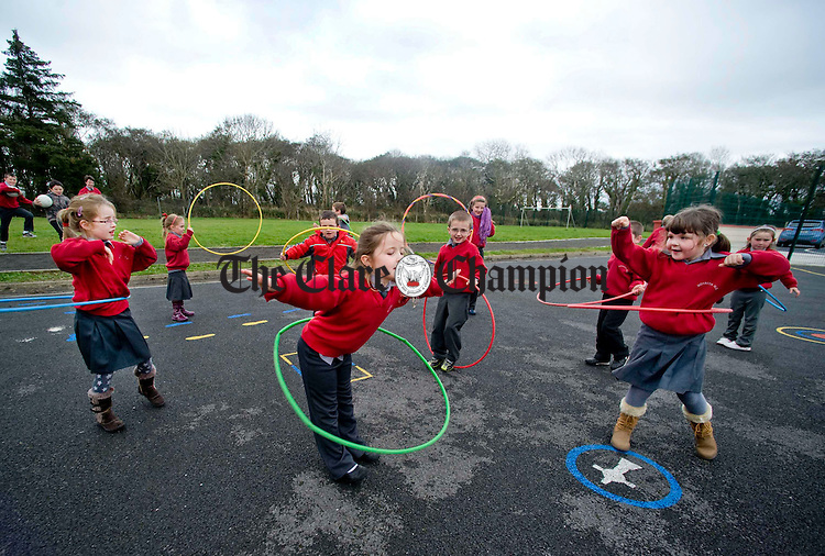 Practicing the hula hoop skills at Moyasta National School. Photograph by Declan Monaghan
