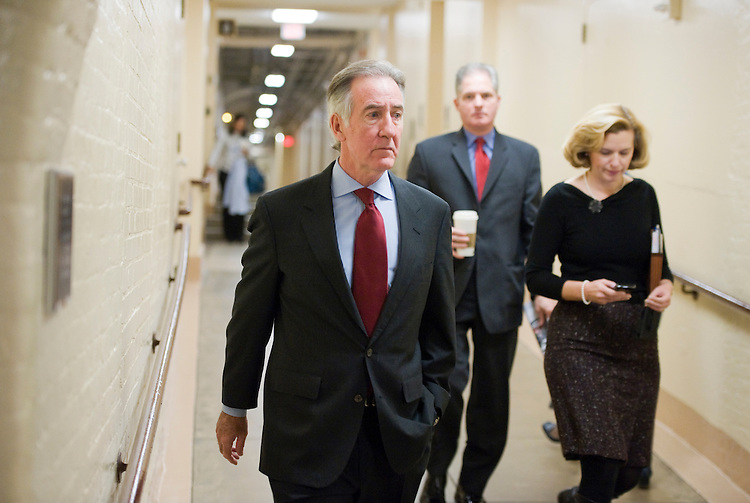 UNITED STATES - DECEMBER 09:  Rep. Richard Neal, D-Mass, makes his way to a meeting of the House democratic caucus. (Photo By Tom Williams/Roll Call)